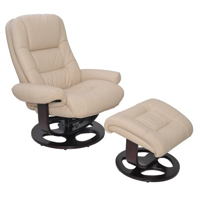 Jacque II Manual Swivel Recliner With Ottoman Upholstery: Ivory