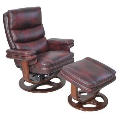 Bella Ii Leather Manual Swivel Recliner With Ottoman