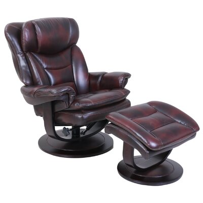 Pedestal Roscoe Ped Recliner and Ottoman Upholstery: Mahogany