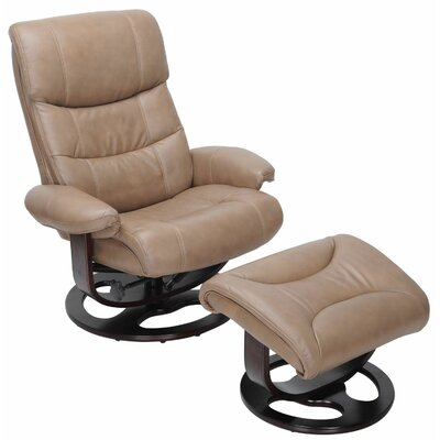 Pedestal Dawson Ped Manual Recliner with Ottoman Upholstery: Brown