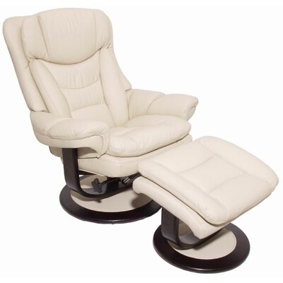 Pedestal Roscoe Ped Manual Rocker Recliner with Ottoman Upholstery: Ivory