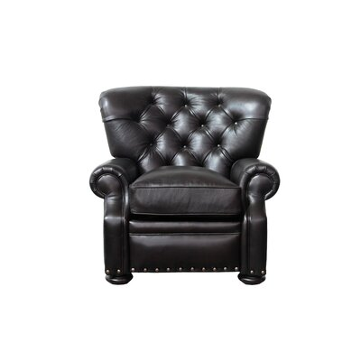 Sinclair Leather Recliner Upholstery: Dark Brown