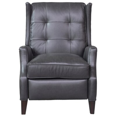 Lincoln Leather Manual Recliner Upholstery: Dark Gray