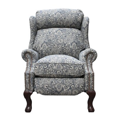 Danbury Manual Recliner Upholstery: Cobalt Blue/Off White