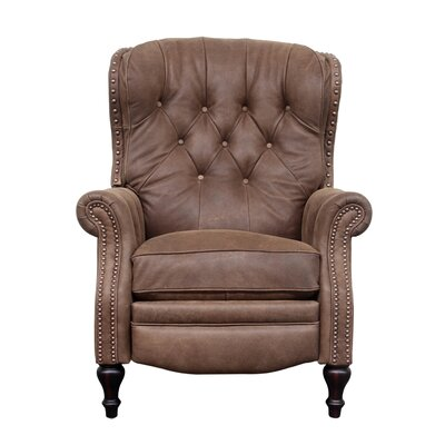 Lavoie Leather Manual Recliner Upholstery: Brown