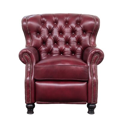 Keleigh Leather Manual Recliner Upholstery: Carmine