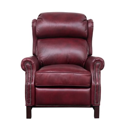 Jazzmyn Leather Manual Recliner Upholstery: Carmine