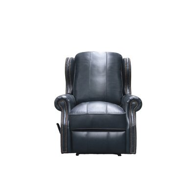 Abelardo Leather Manual Wall Hugger Recliner Upholstery: Blue