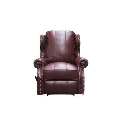 Abelardo Leather Manual Wall Hugger Recliner Upholstery: Wine