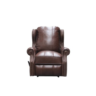Abelardo Leather Manual Wall Hugger Recliner Upholstery: Chocolate