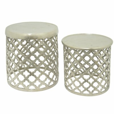 2 Piece End Table Set Finish: Raw Nickel