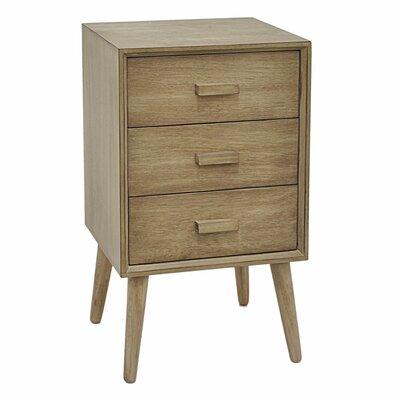 Baldwin Wood 3 Drawer End Table with Storage