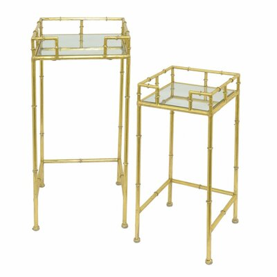 Azariah Metal Mirrored 2 Piece Nesting Tables