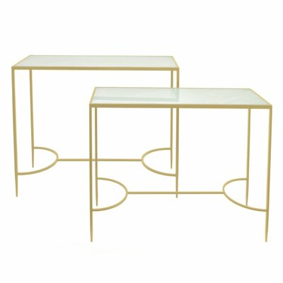 Barnabas Metal and Glass Console Table