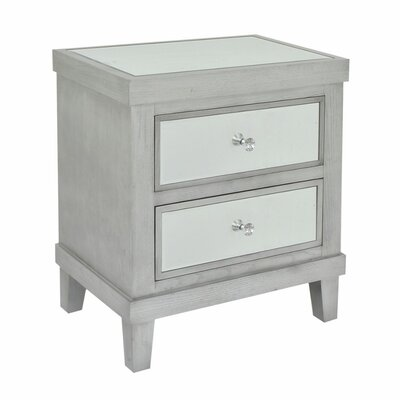 Reese Wood and Mirror 2 Drawer Nightstand