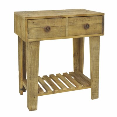 Bay Hill Wood 2 Drawers End Table with Storage