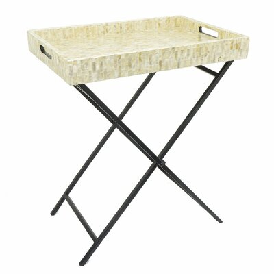 Amadi Wooden Metal Mop Serving Tray Table
