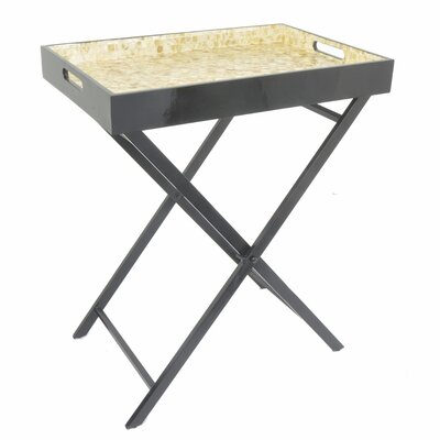 Ellettsville Wooden Metal Mop Serving Tray Table Color: Cream