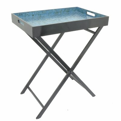 Ellettsville Wooden Metal Mop Serving Tray Table Color: Blue