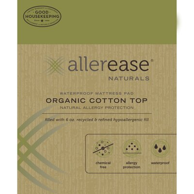 Naturals Organic Cotton Waterproof Mattress Pad Size: Twin Extra Large