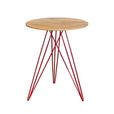 Hudson End Table Base Color: Red, Top Color: Maple