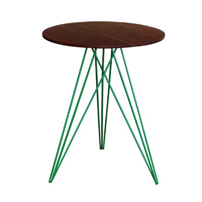 Hudson End Table Base Finish: Green, Top Finish: Walnut