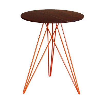 Hudson End Table Base Color: Orange, Top Color: Walnut