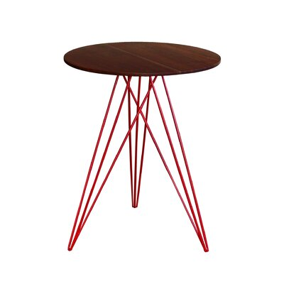 Hudson End Table Base Color: Red, Top Color: Walnut
