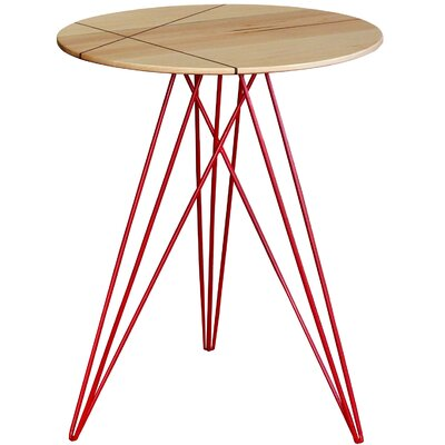 Hudson End Table with Inlay Top Finish: Maple, Base Finish: Red