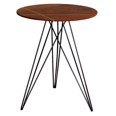 Hudson End Table with Inlay Base Finish: Black, Top Finish: Walnut