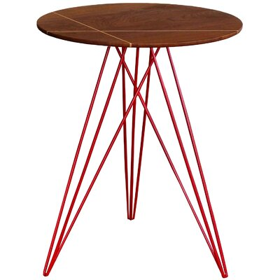 Hudson End Table with Inlay Base Finish: Red, Top Finish: Walnut