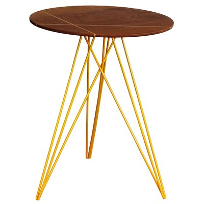 Hudson End Table with Inlay Base Finish: Yellow, Top Finish: Walnut