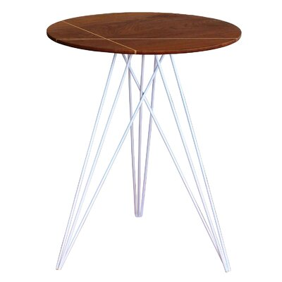 Hudson End Table Base Color: White, Top Color: Walnut