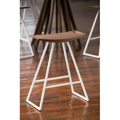 Roberts 18 Bar Stool Base Color: White, Upholstery: Walnut