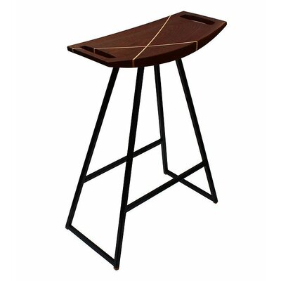 Roberts 18 Bar Stool Upholstery: Walnut, Base Finish: Orange