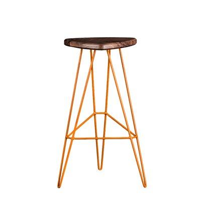 Madison Bar Stool Base Color: Orange, Seat Finish: American Walnut
