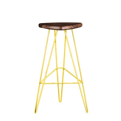 Madison Bar Stool Base Color: Yellow, Seat Finish: American Walnut