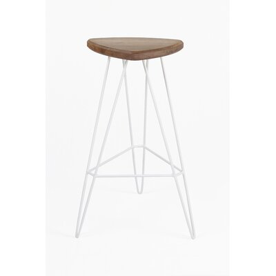 Madison 30 Bar Stool Base Color: Red, Seat Color: American Walnut