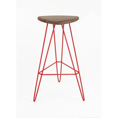 Madison Bar Stool Base Color: Green, Seat Finish: American Walnut