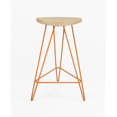 Madison Bar Stool Base Color: Orange, Seat Finish: Maple