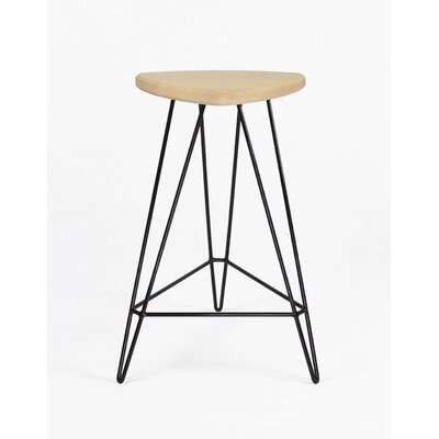 Madison Bar Stool Base Color: Black, Seat Finish: Maple