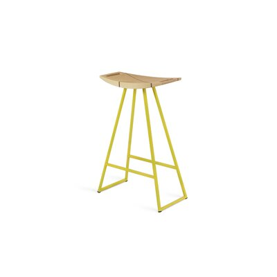 Roberts 24 Bar Stool Base Finish: Yellow, Upholstery: Maple