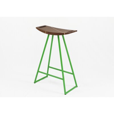 Roberts 24 Bar Stool Base Finish: Green, Upholstery: Walnut