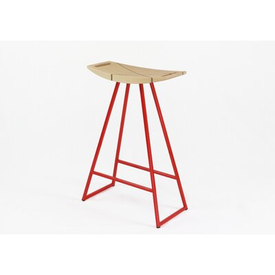Roberts 24 Bar Stool Base Finish: Red, Upholstery: Maple