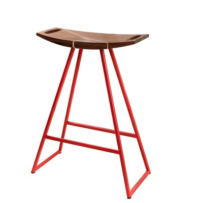 Roberts 24 Bar Stool Base Finish: Red, Upholstery: Walnut