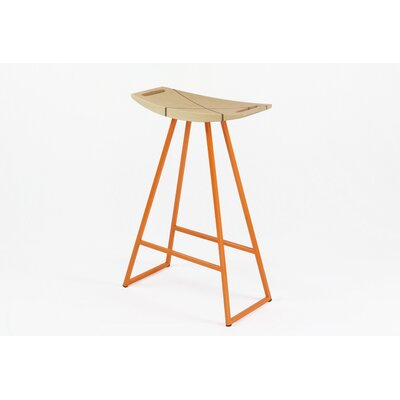 Roberts 24 Bar Stool Base Color: Orange, Upholstery: Maple