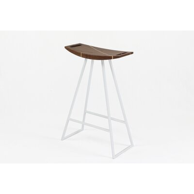 Roberts 24 Bar Stool Base Color: White, Upholstery: Walnut