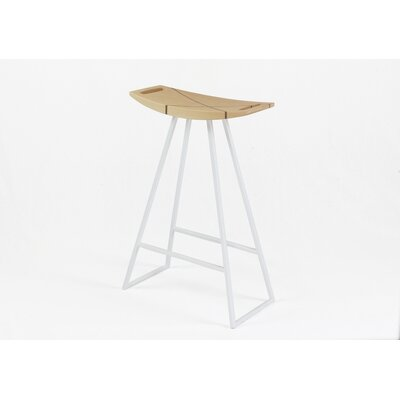 Roberts 24 Bar Stool Base Color: White, Upholstery: Maple
