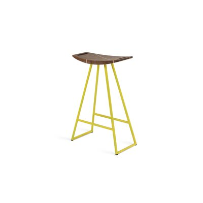 Roberts 24 Bar Stool Base Finish: Yellow, Upholstery: Walnut