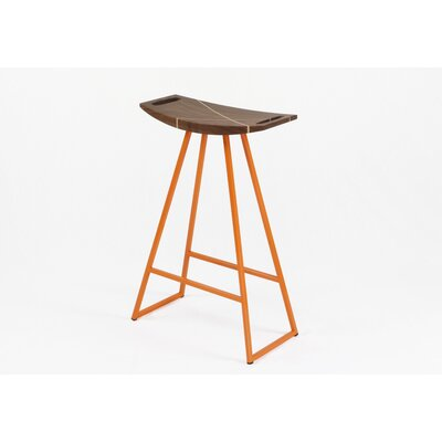 Roberts 24 Bar Stool Base Finish: Orange, Upholstery: Walnut